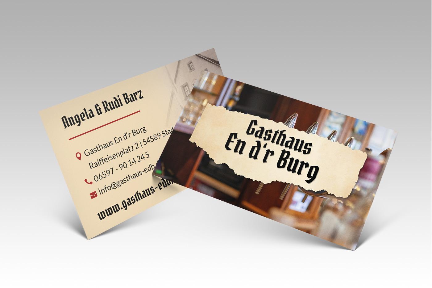 Visitenkarten Gasthaus En d'r Burg